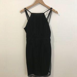Black Mesh Mini Club Dress
